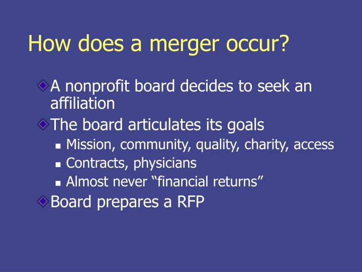 How does a merger occur?