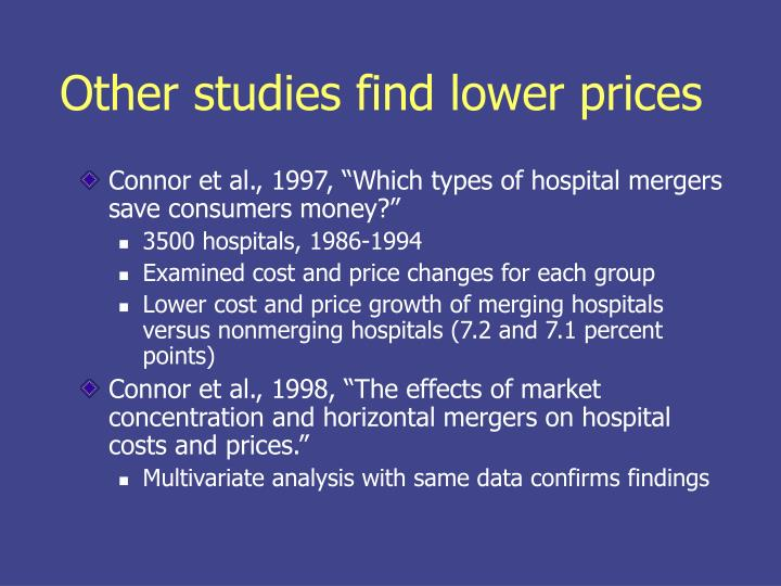Other studies find lower prices