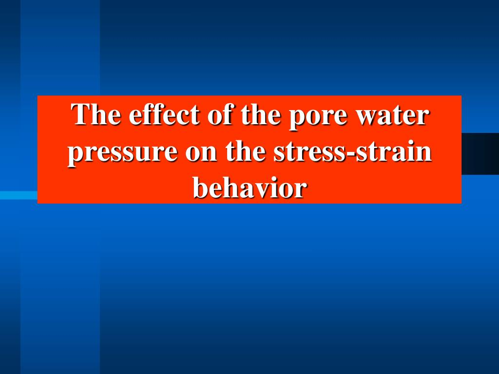 The effect of the pore water pressure on the stress-strain behavior