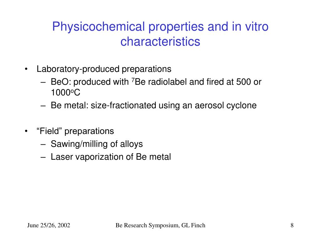 Physicochemical properties and in vitro characteristics