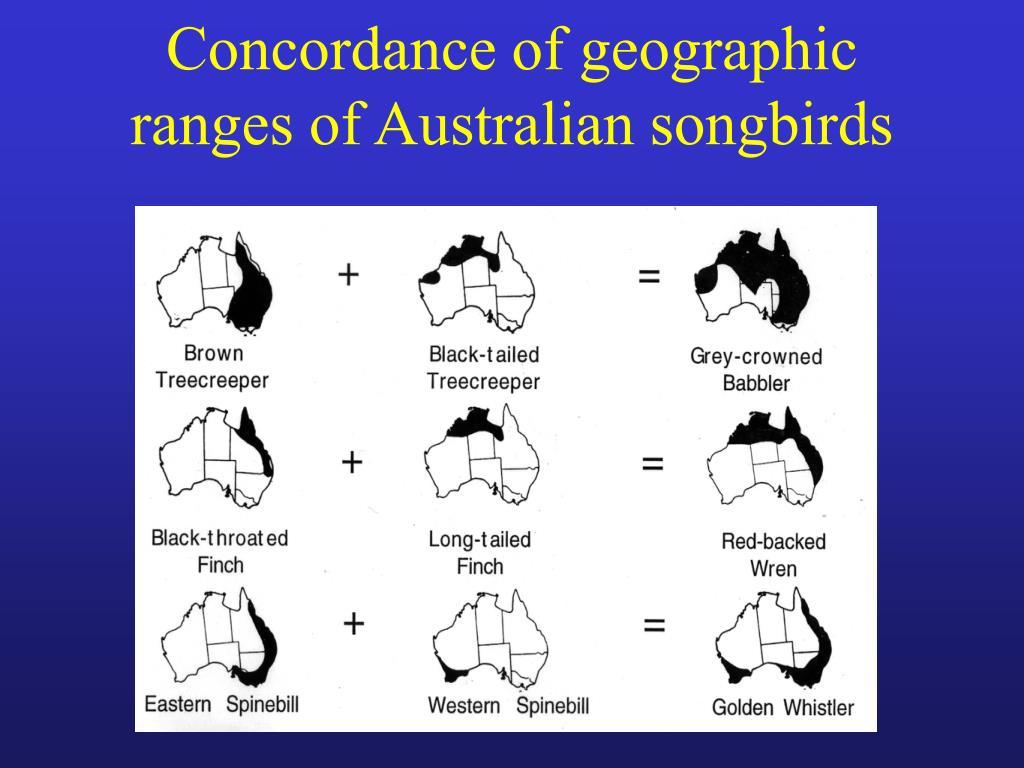 Concordance of geographic ranges of Australian songbirds