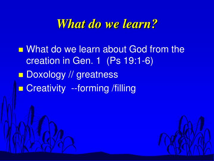 What do we learn?