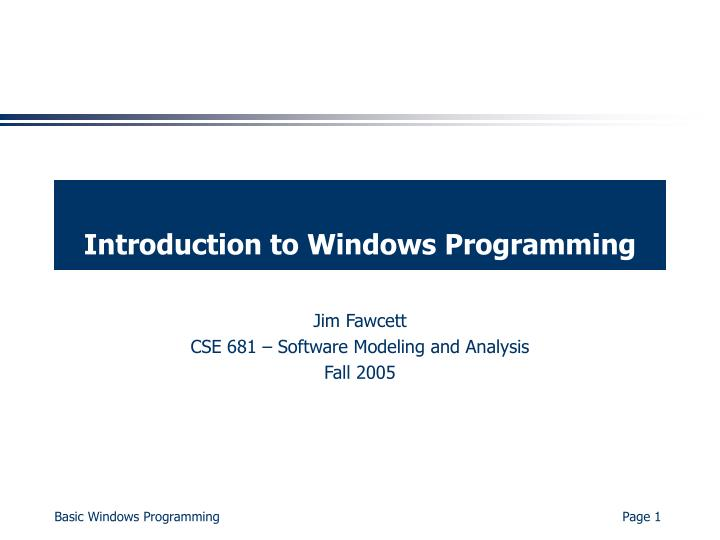 introduction to windows programming n.