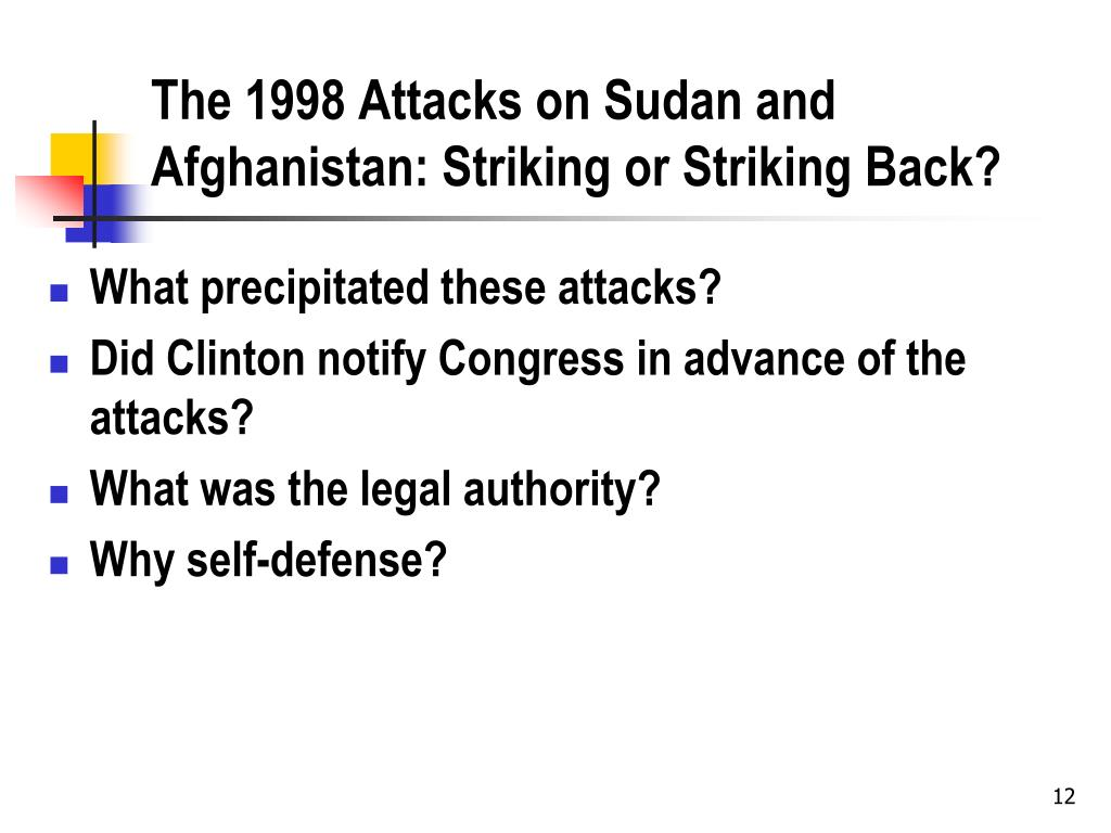 The 1998 Attacks on Sudan and Afghanistan: Striking or Striking Back?