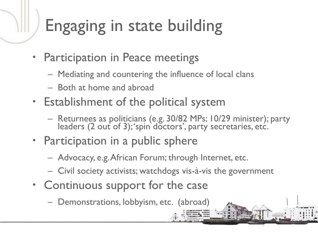 Engaging in state building