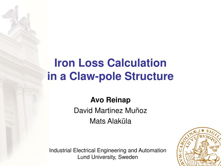 iron loss calculation in a claw pole structure n.