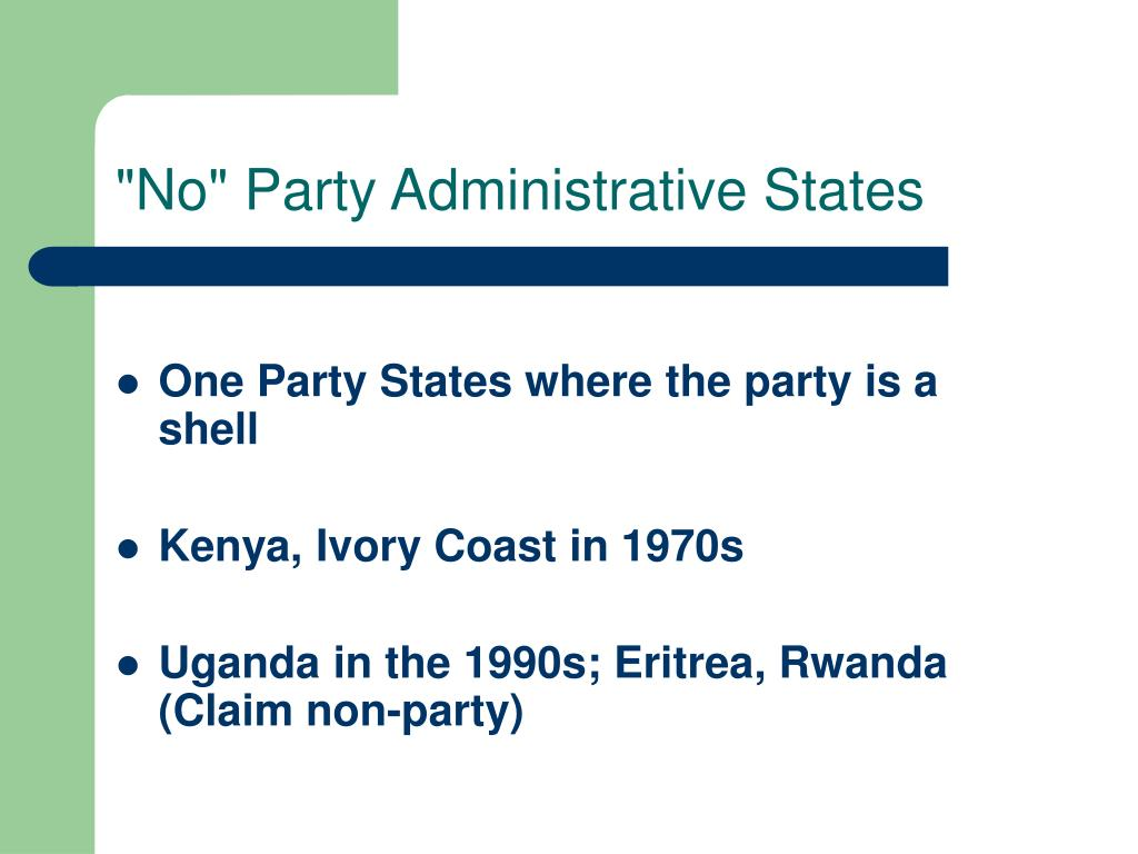 """No"" Party Administrative States"