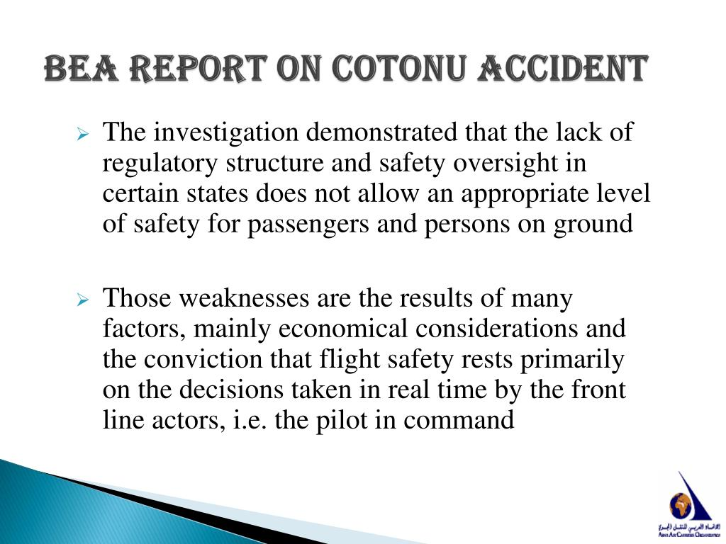 BEA Report on Cotonu Accident