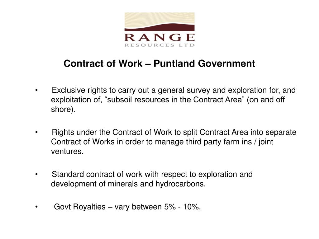 Contract of Work – Puntland Government