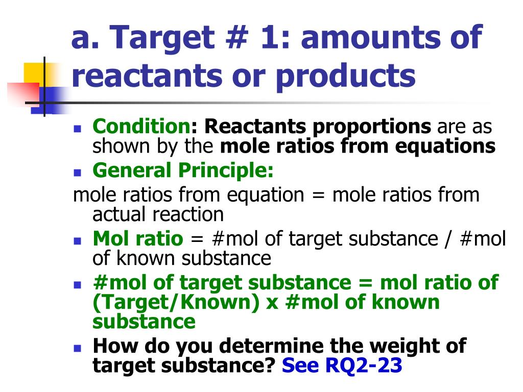 a. Target # 1: amounts of reactants or products