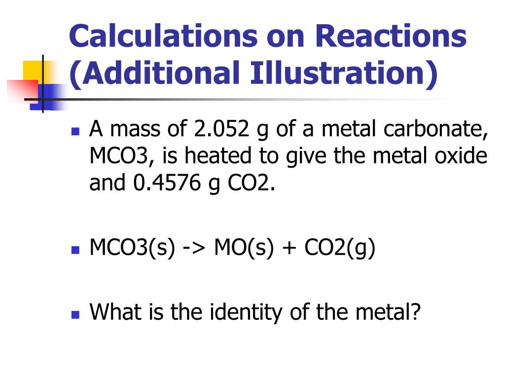 Calculations on Reactions (Additional Illustration)