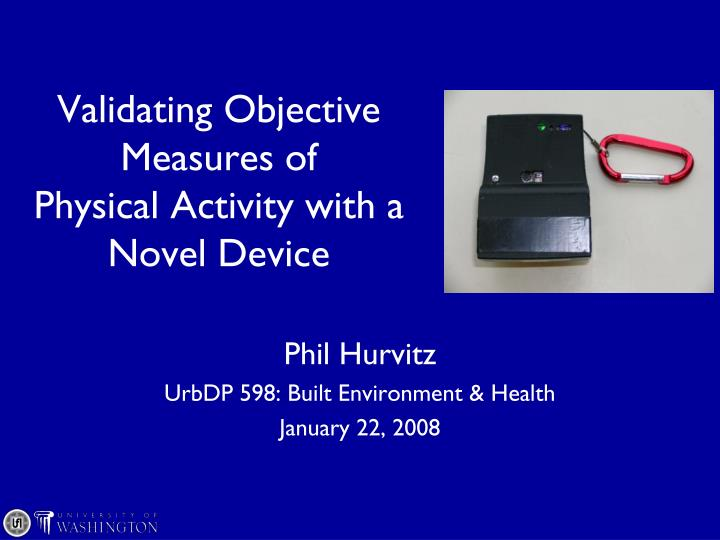 validating objective measures of physical activity with a novel device n.