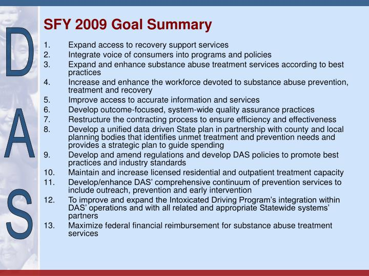 Sfy 2009 goal summary