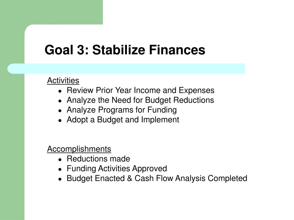 Goal 3: Stabilize Finances