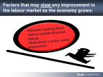 factors that may slow any improvement in the labour market as the economy grows