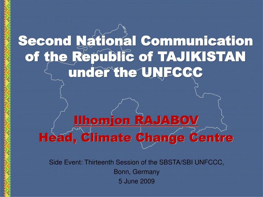 second national communication of the republic of tajikistan under the unfccc l.