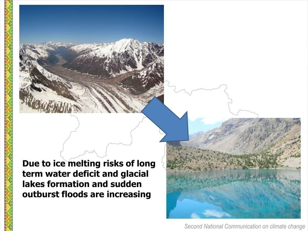 Due to ice melting risks of long term water deficit and glacial lakes formation and sudden outburst floods are increasing
