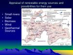 appraisal of renewable energy sources and possibilities for their use
