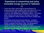 experience in researching and using renewable energy sources in tajikistan 2