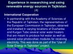 experience in researching and using renewable energy sources in tajikistan 4