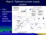 map of tajikistan s power supply system