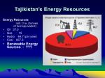 tajikistan s energy resources