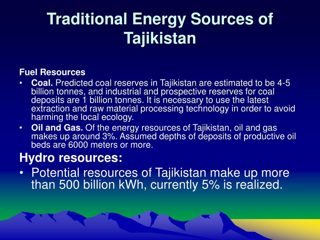Traditional Energy Sources of Tajikistan