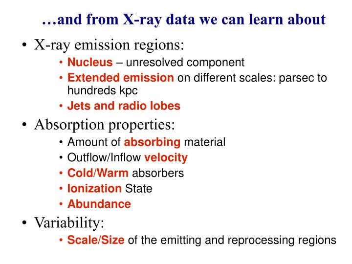 …and from X-ray data we can learn about