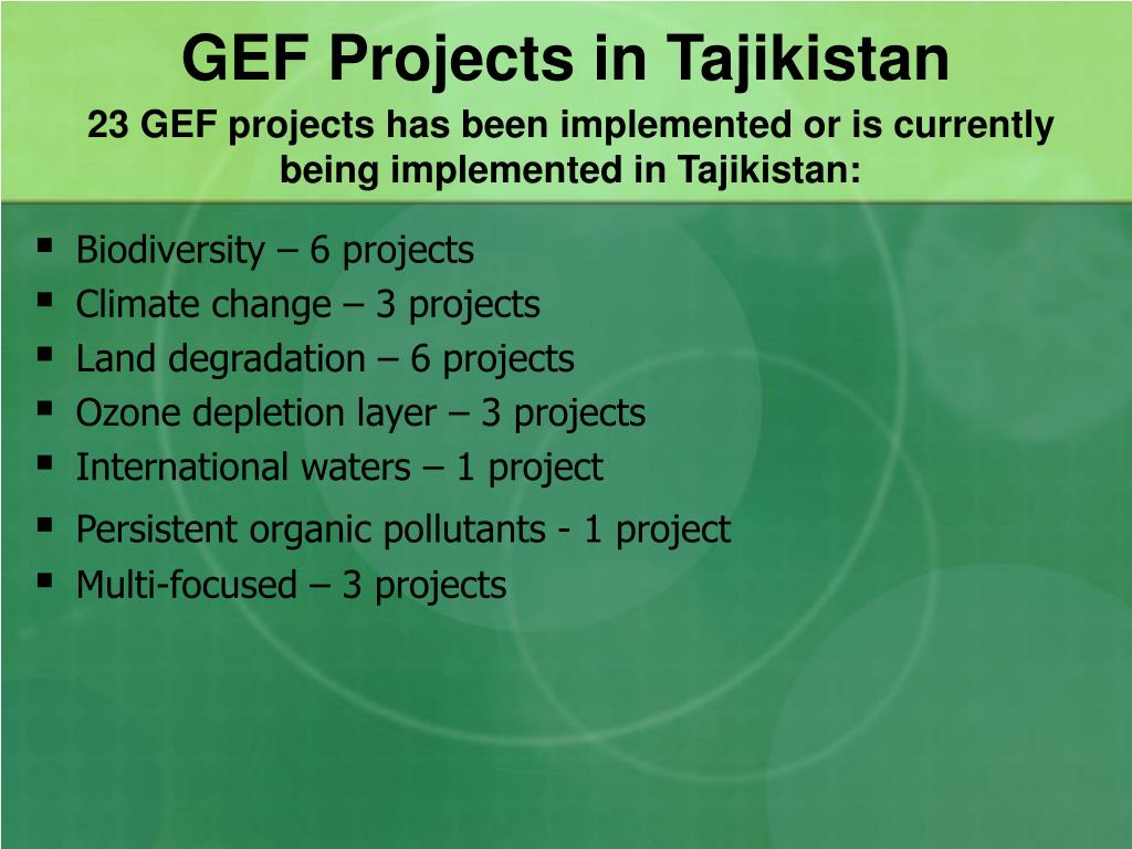23 GEF projects has been implemented or is currently being implemented in Tajikistan