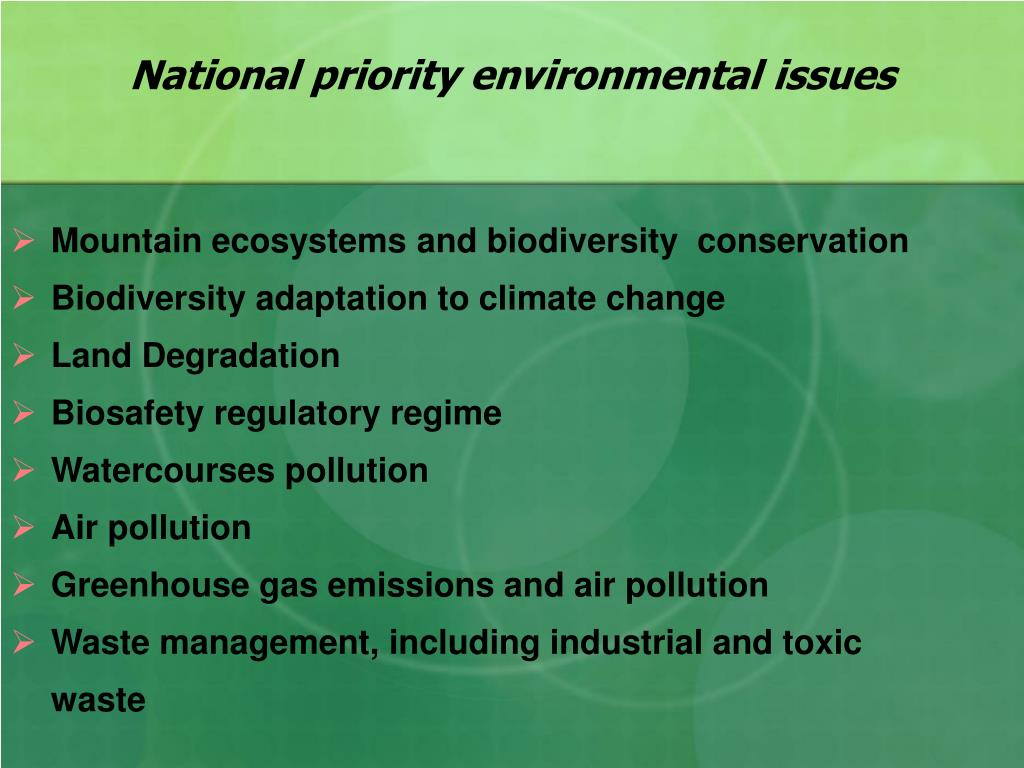 National priority environmental issues