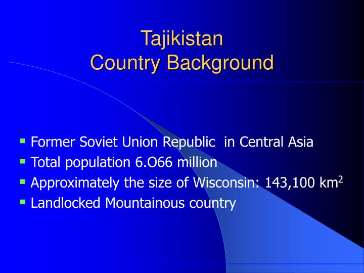 Tajikistan country background