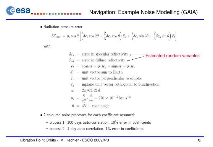 Navigation: Example Noise Modelling (GAIA)