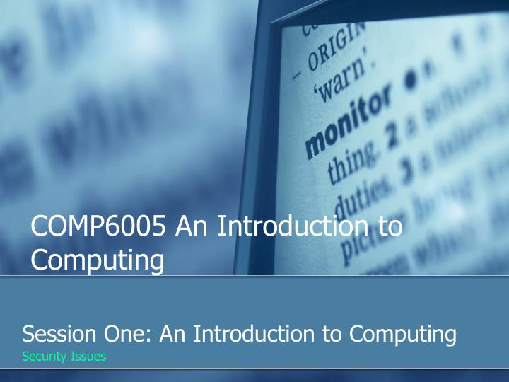 comp6005 an introduction to computing n.