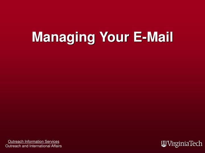 managing your e mail n.