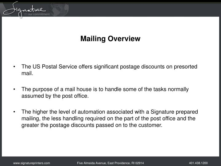 mailing overview n.