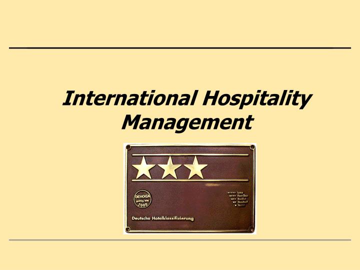 international hospitality management n.