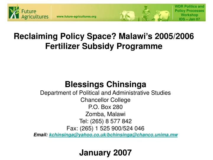 reclaiming policy space malawi s 2005 2006 fertilizer subsidy programme n.