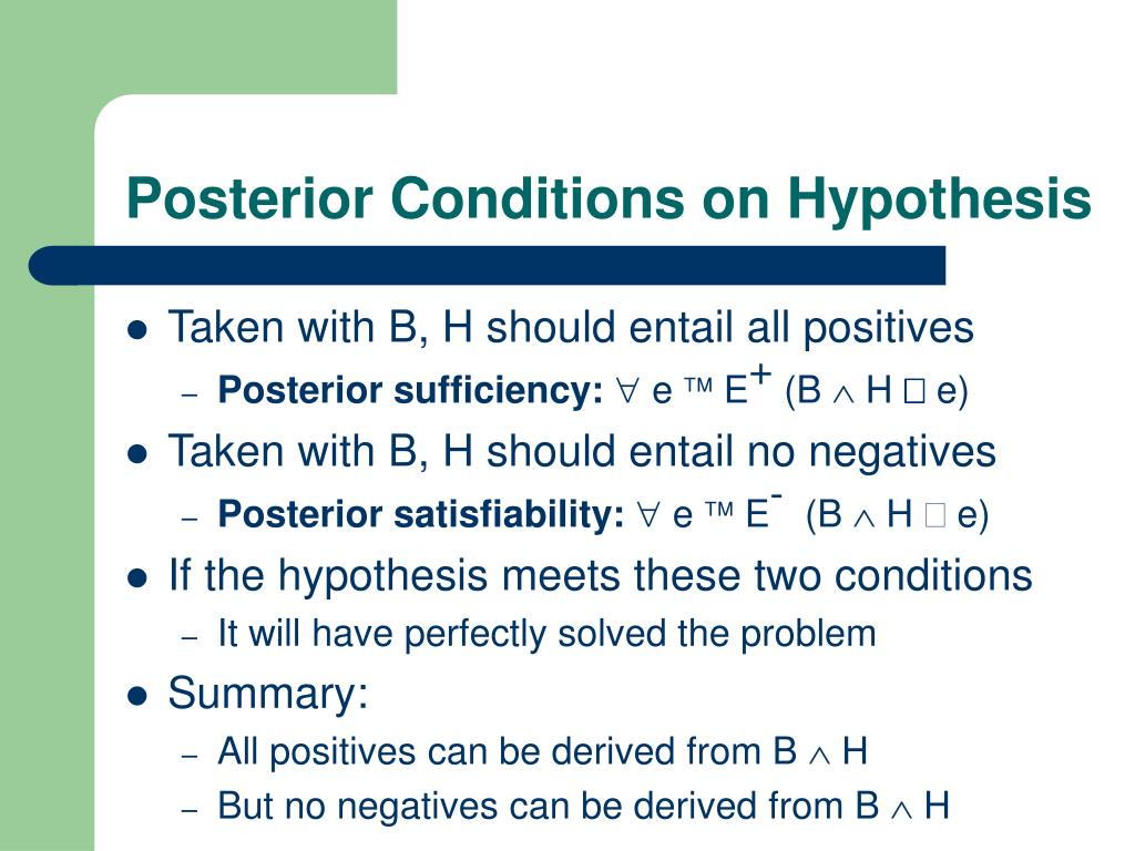 Posterior Conditions on Hypothesis