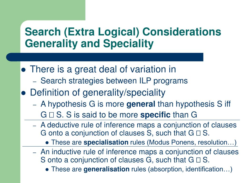 Search (Extra Logical) Considerations