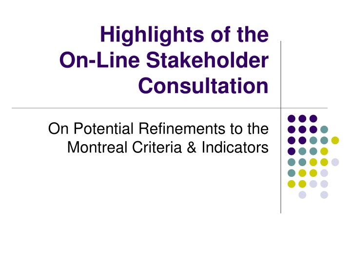 highlights of the on line stakeholder consultation n.