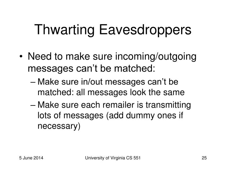 Thwarting Eavesdroppers