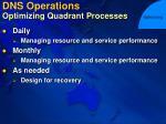 dns operations optimizing quadrant processes