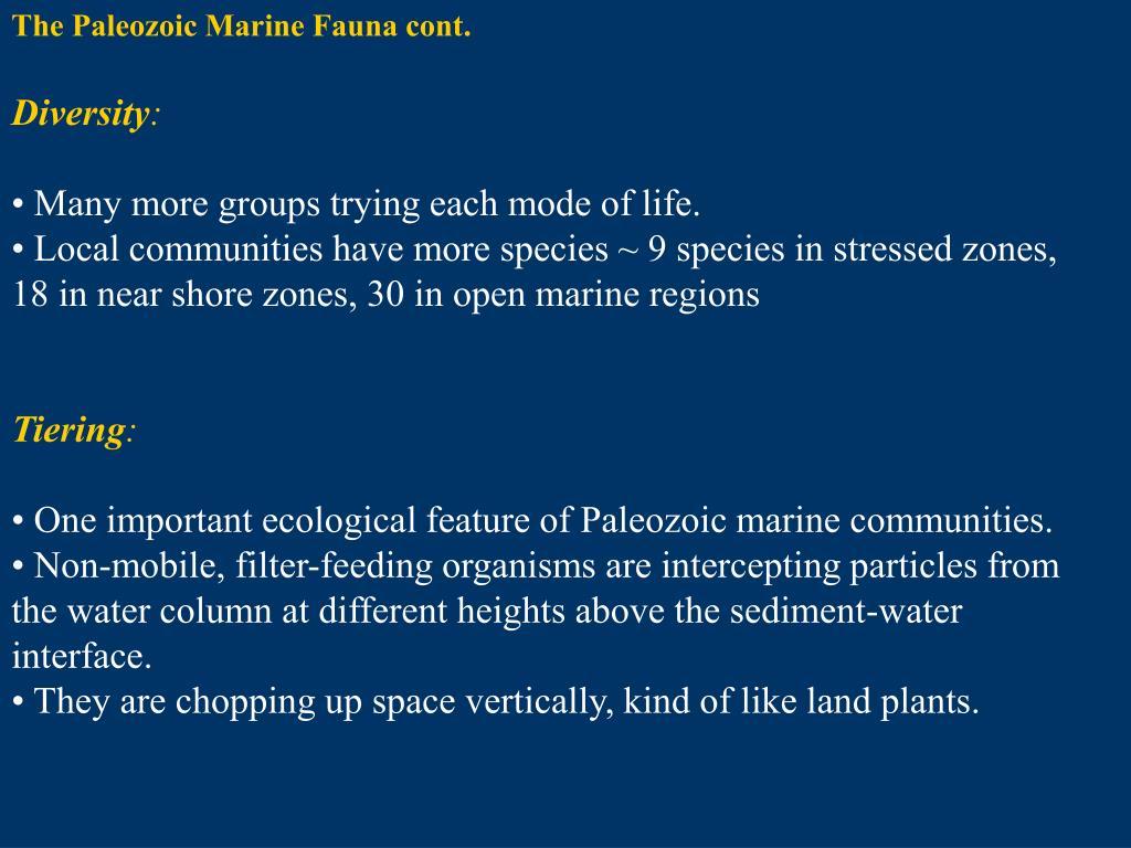 The Paleozoic Marine Fauna cont.