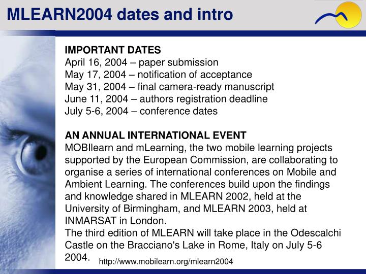 Mlearn2004 dates and intro