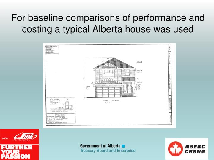 For baseline comparisons of performance and costing a typical Alberta house was used