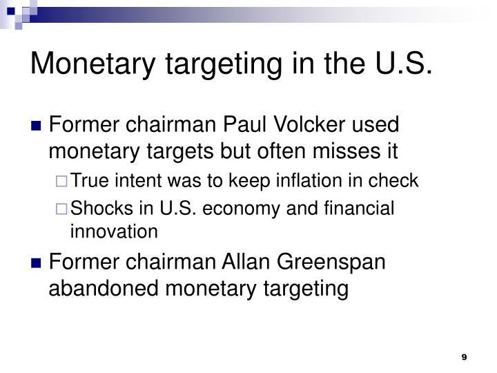 Monetary targeting in the U.S.