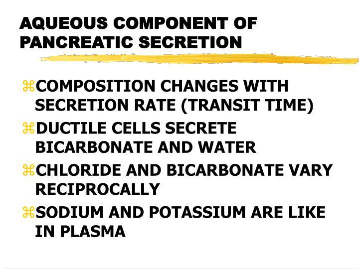 AQUEOUS COMPONENT OF PANCREATIC SECRETION