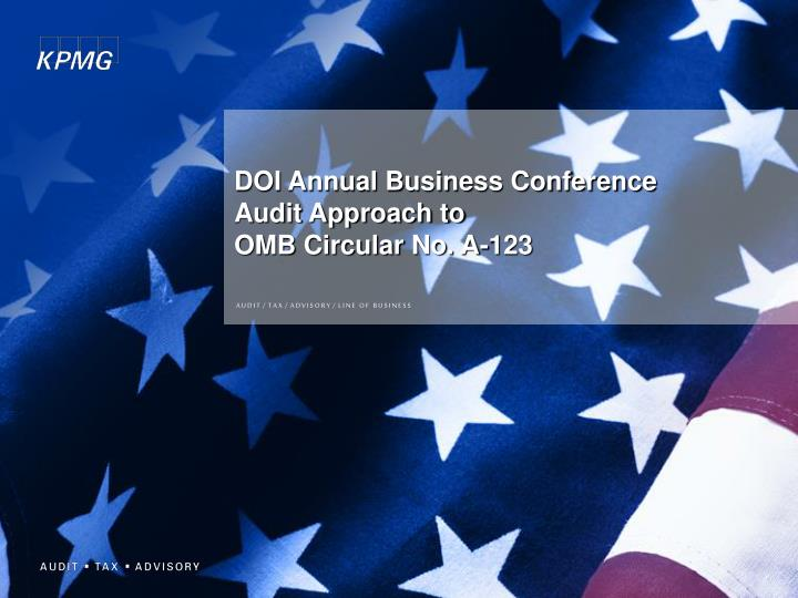doi annual business conference audit approach to omb circular no a 123 n.