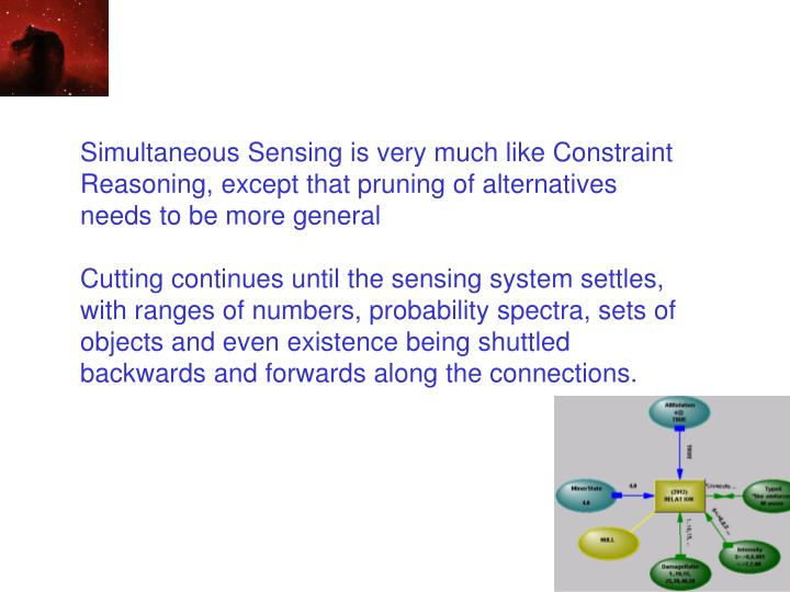 Simultaneous Sensing is very much like Constraint Reasoning, except that pruning of alternatives needs to be more general