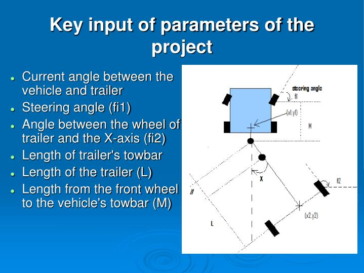 Key input of parameters of the project